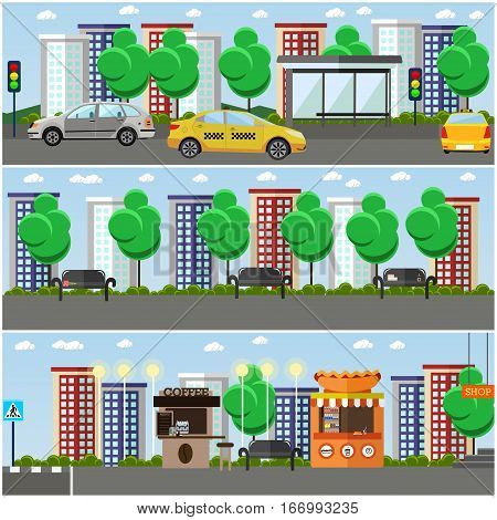 Vector set of street concept design elements, backgrounds in flat style. Modern street with food stalls, place for walk. Main street, bus stop, traffic lights, road sign, crosswalk.