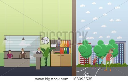 Vector illustration of university professor, senior man with students. Lecture, seminar. Higher education concept design element in flat style.