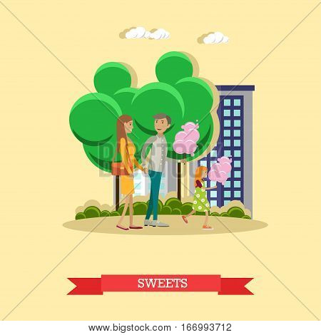 Vector illustration of father, mother holding hands and their daughter with cotton candy. Cartoon characters. Amusement park, recreation concept design element in flat style.