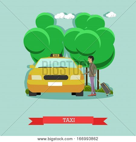 Vector illustration of taxi cab and passenger man standing near it. Airport taxi service concept design element in flat style.