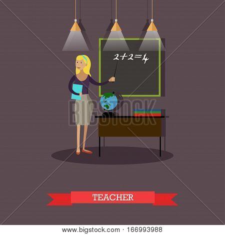 Vector illustration of mathematics teacher woman pointing at blackboard. Classroom interior. School concept design element in flat style.