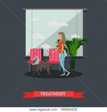 Treatment of pets in veterinary clinic concept vector illustration. Woman and her dog with injured neck. Vet clinic services concept design element in flat style.