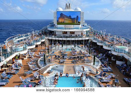 CARIBBEAN SEA - JANUARY, 2017: The crowded deck of a large cruise ship.