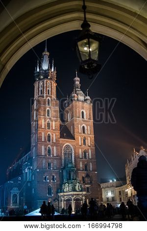 Church of St. Mary in Krakow, Krakow old town, the Roman Catholic Church at night with lights, Poland old architecture