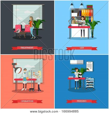 Vector set of veterinary clinic services concept posters, banners. Treatment, Vet, Operation and Feeding design elements in flat style.
