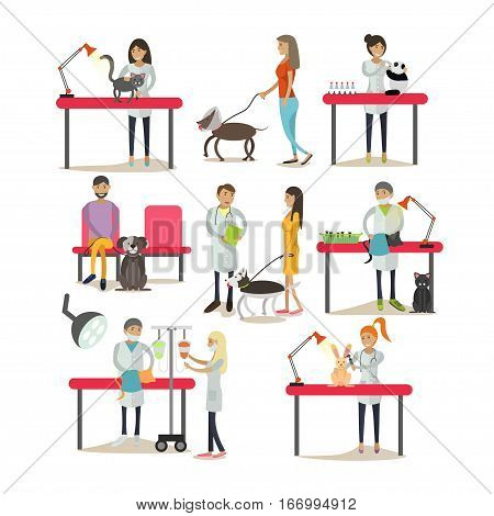 Vector set of vet clinic staff at workplace, clients with their pets isolated on white background. Design elements, icons in flat style.