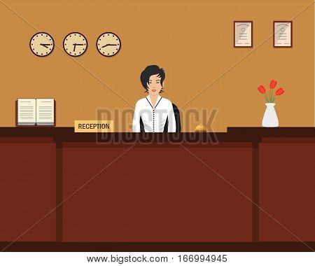 Hotel reception. Young woman receptionist stands at reception desk. There is a vase with red tulips also in the picture. Travel, hospitality, hotel booking concept. Vector illustration