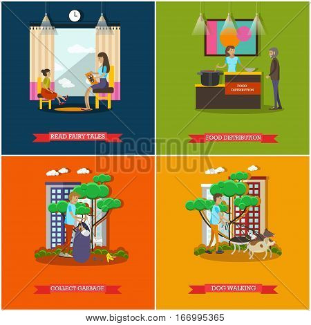 Vector set of voluntary organization services concept posters, banners. Read fairy tales, Food distribution, Collect garbage, Dog walking design elements in flat style.