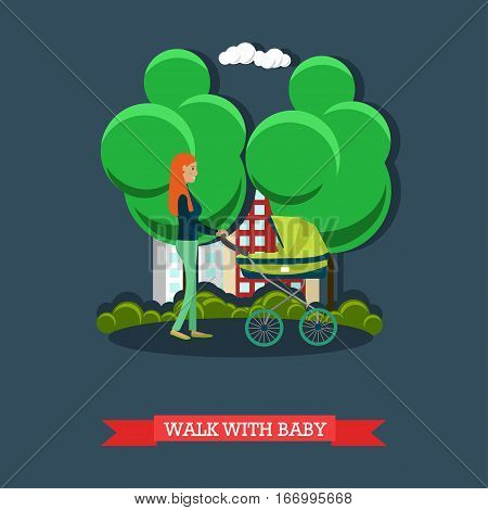 Vector illustration of mother with her baby in pram walking in the street. Street traffic concept design element in flat style.