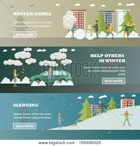 Vector set of winter people activities concept horizontal banners in flat style. Winter games, Help others in winter, Sledging design elements.