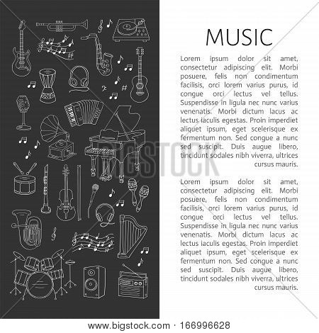 Music icon set vector illustrations hand drawn doodle. Musical instruments and symbols piano, guitar, drum set, gramophone, microphone, violin, drum set, accordion, radio, saxophone