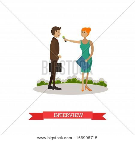 Vector illustration of woman doing interview and man giving interview in the street. The news reporter, journalist and businessman characters. Mass media jobs concept design element in flat style