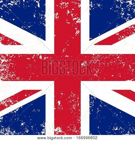 United Kingdom flag or Britain flag in grunge style. Vector background