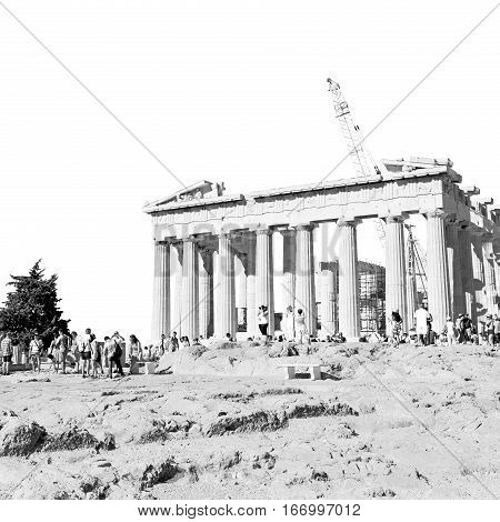 Place  And   Historical    In The Old Architecture  Europe Greece  Acropolis Athens