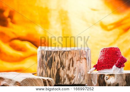 Little tea cup standing upside down on rustic wooden stands