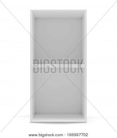 White empty clean shelf box, isolated on white. 3d rendering. Template shelf or showcase