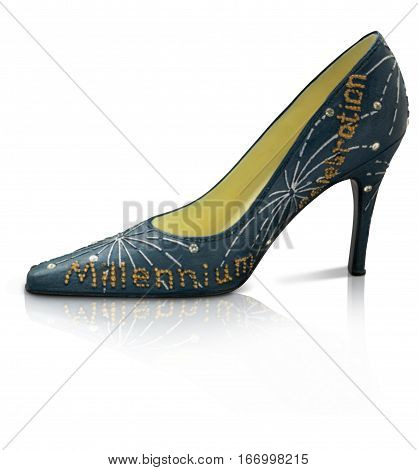 Collectable Miniature stiletto model shoes with reflection on white background