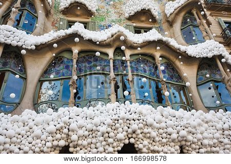 Barcelona Spain - January 02 2017: The decorated front facade of the House of Batllo by famous architect Antoni Gaudi located on the Passeig de Gracia street in Barcelona