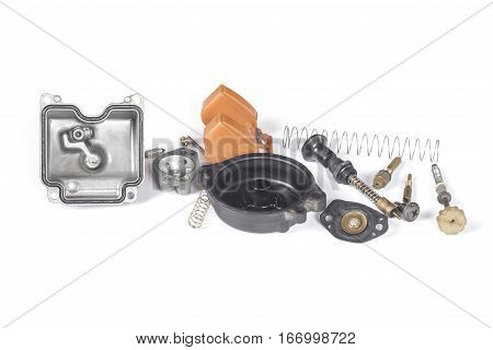 Carburetor of motorcycle part disassembly isolate on white background.