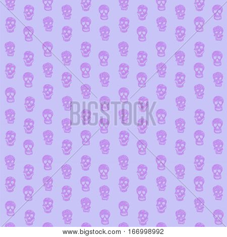 Purple and lavender drawing skull seamless vector pattern illustration