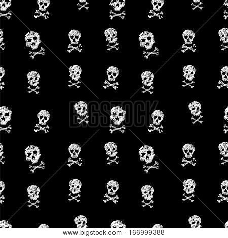 Black and white drawing Jolly Roger skull seamless vector pattern illustration