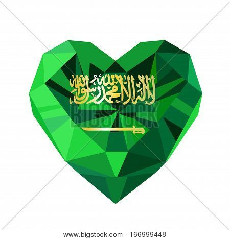 Vector crystal gem jewelry Saudi Arabian  heart with the flag of the Kingdom of Saudi Arabia. Flat style logo symbol of love KSA. Saudi National Day. Unification of the Kingdom. 23 September