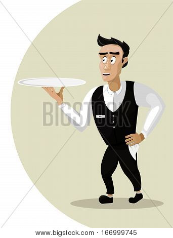 Men male person young waiter steward garcon flunkey flunky cartoon happy smile serving go dish food silver tray portrait. Vector close-up vertical beautiful cute illustration sign isolated background