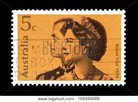 AUSTRALIA - CIRCA 1970 : Cancelled postage stamp printed by Australia, that shows Royal couple.