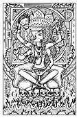 Kali, Indian hindi goddess with death symbols. Fantasy magic creatures collection. Hand drawn vector illustration. Engraved line art drawing, graphic mythical doodle. Template for card game poster