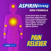 Medicine pill or drug ads painkillers aspirin strong tablets label. Human silhouette with pain focus. The cure for chest pain headache joint pain antipyretic colds and flu Meds for heath. Vector poster