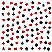 The seamless pattern made out of casino symbols / Heart diamond spade and clubs background / The casino symbols background poster