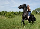 young teenager and her best friend dangerous black stallion poster