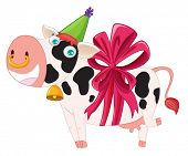 cow with bell and ribbon vector illustration poster