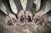 African Children Holding Hands Cupped To Beg Help. Poor African children keeping their cupped hands asking for help. poster