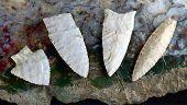 Paleo midwestern arrowheads made 7000 to 8000 years ago found near Pettis Missouri. poster