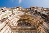 View of the entrance doors to the Duomo Santa Maria Del Fiore and Bargello. Florence Tuscany Italy poster