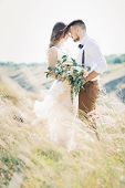 fine art wedding photography. bride and groom hugging at the wedding in nature. poster