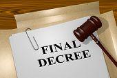"3D illustration of ""FINAL DECREE"" title on legal document poster"