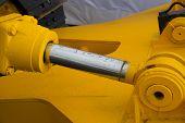 Detail of hydraulic bulldozer piston excavator arm poster