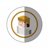 sticker with portrait lego man worker with helmet vector illustration poster