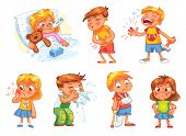 Children get sick. Child has high temperature. Boy hit with hammer on finger. Toothache. Boy's stomach ache. Girl's body rash. Broken limbs. Cold in head. Funny cartoon character. Vector illustration poster