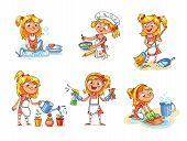 House cleaning. Girl is busy at home: watering flowers, washing dishes, sweeping dust with a broom, washing the floor, preparing to eat, cooking. Funny cartoon character. Vector illustration poster