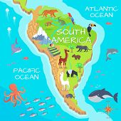 South America mainland cartoon map with fauna species. Cute american animals flat vector. Amazonian predators. Mountain species. Jungle wildlife. Nature concept for children s book illustrating poster