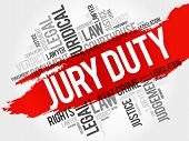 Jury Duty word cloud collage , law concept background poster