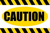 Black and yellow striped hazard caution sign over white background. poster