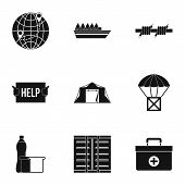 People fugitives icons set. Simple illustration of 9 people fugitives vector icons for web poster
