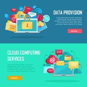 Data provision and cloud computing services banners. Networking communication and data icons near laptop. Data protection, online cloud storage, security, global storage, privacy, online communication poster