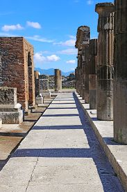 Ruins of Ancient Pompeii, Roman town destroyed by Vesuvius volcano in 79 AD