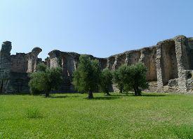Ruins of Catullus Caves roman villa in Sirmione Garda Lake Italy.