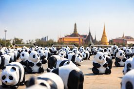 Bangkok Thailand - March 4 2016: Panda+ World Tour by WWF (World Wildlife Fund) set for to raise an awareness to conserve pandas which near extinct wildlife and environments.